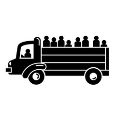 refugee people truck icon simple style vector image