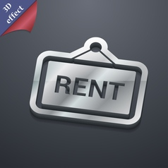 Rent icon symbol 3D style Trendy modern design vector image
