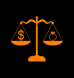 Ring jewelery and dollar symbol on scales orange vector