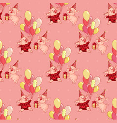 seamless pattern with cartoon pigs in party vector image
