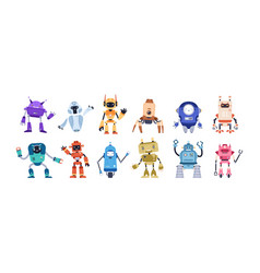 set happy funny cartoon childish robots wave vector image
