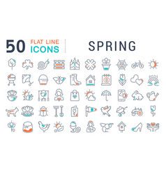 Set line icons spring vector