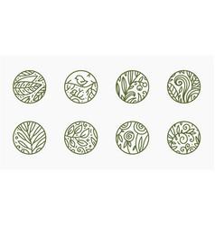 set linear nature logos abstract badges vector image
