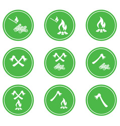 set of campfire icons vector image