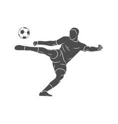 Silhouette soccer player quick shooting a ball vector
