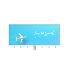 silver airplane in blue sky on billboard time to vector image