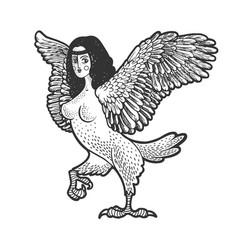 Siren greek mythical creature sketch vector