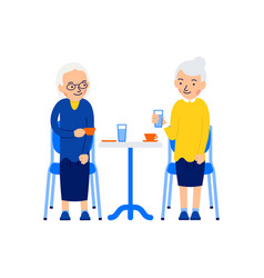 Sitting old woman two older women sit at table vector
