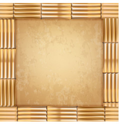square brown dry bamboo stems frame with old vector image