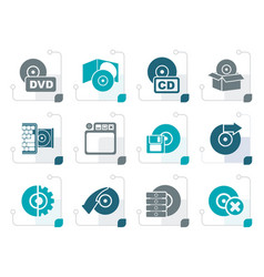 Stylized computer media and disk icons vector
