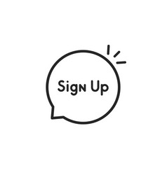 thin line speech bubble with sign up vector image