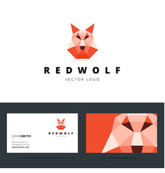 Triangle polygonal logo with wolf sign and vector image