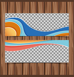 two banner templates on wooden board vector image