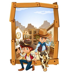 Two cowboys in the countryside vector
