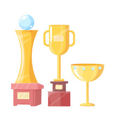 Victory cup statuette and mug trophy vector