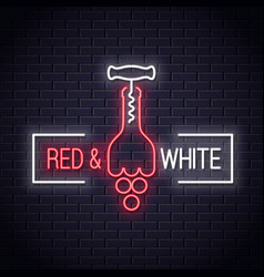 wine bottle neon logo corkscrew with wine grapes vector image