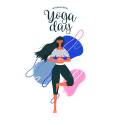Woman doing tree pose exercise for yoga day vector