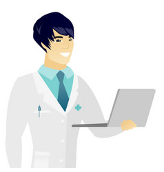 young asian doctor using a laptop vector image