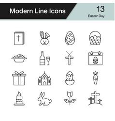 easter icons modern line design set 12 vector image