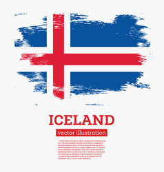 iceland flag with brush strokes vector image