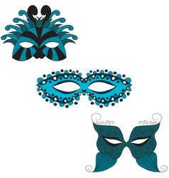 set of carnival masks vector image