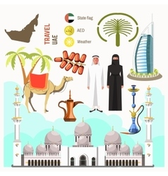 Uae travel concept map vector