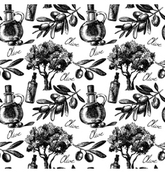 Vintage olive seamless pattern vector image vector image