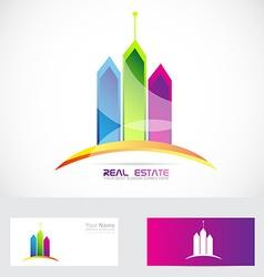 Real estate buildings colors logo vector