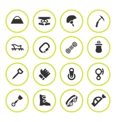 Set round icons of mountaineering vector image vector image