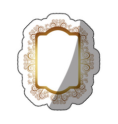 sticker golden oval rectangle heraldic baroque vector image