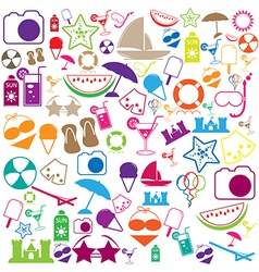 Summer Icons with White Background - silhouette vector image