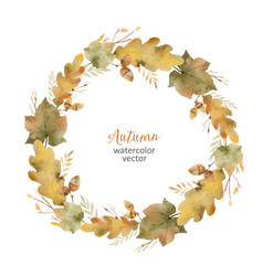 watercolor round frame of leaves and vector image