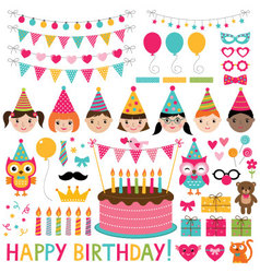 kids birthday party set vector image vector image