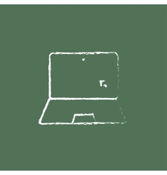 Laptop and cursor icon drawn in chalk vector image vector image