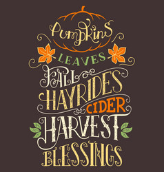pumpkins leaves fall hay rides typography sign vector image vector image