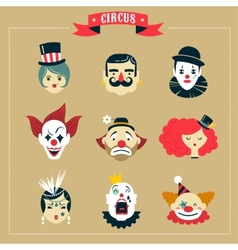 Vintage Circus freak show icons and hipster vector image vector image
