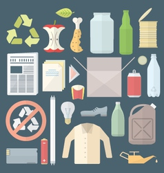 color flat style separated waste icons and signs vector image