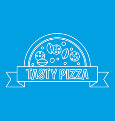 tasty pizza badge with ribbon icon outline style vector image