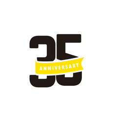 35 years anniversary number with yellow ribbon vector