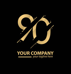 90 year anniversary luxury gold template design vector
