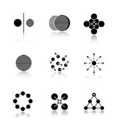 abstract symbols drop shadow black icons set vector image