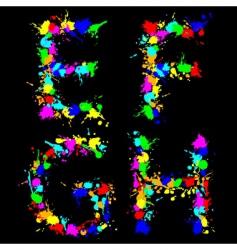 Alphabet color drop efgh vector image