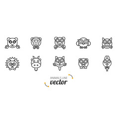 Animals outline flat style vector