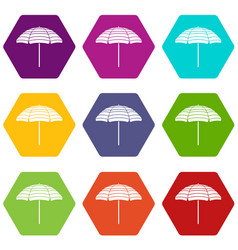 Beach umbrella icon set color hexahedron vector