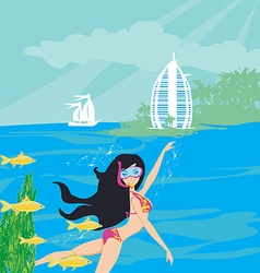 Beautiful girl dives vector