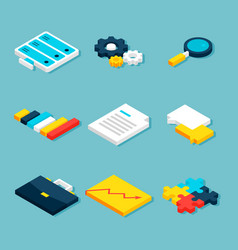 big data analytics isometric objects vector image