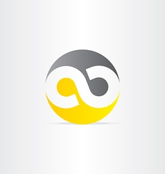 Black and yellow infinity symbol vector