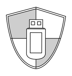 Black line usb security vector