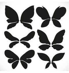 Black silhouette fairy wings different form vector