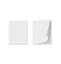 blank cover of white book or magazine on gray vector image